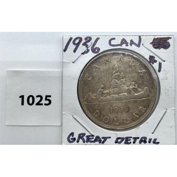 1936 CDN SILVER DOLLAR