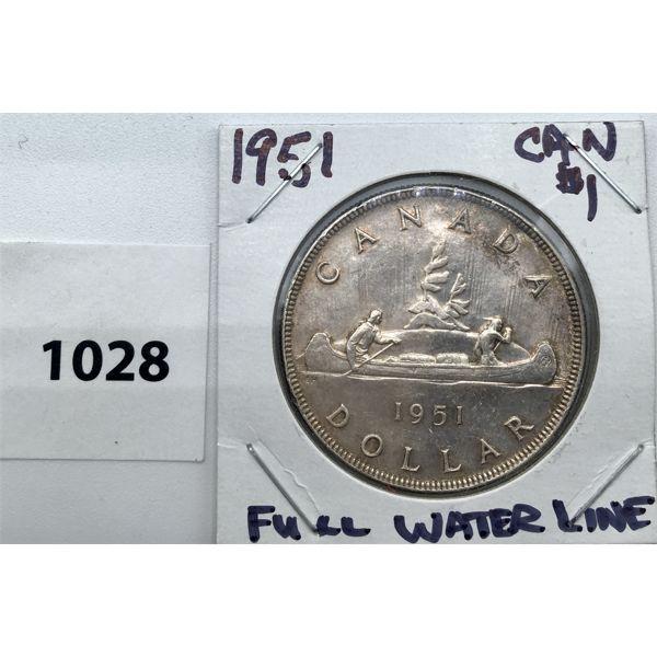 1951 FULL WATER LINE CANADA SILVER DOLLAR