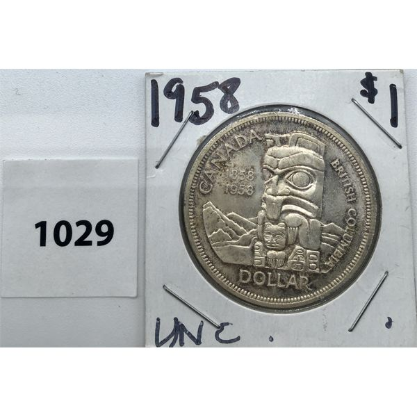 1958 CDN UNCIRCULATED TOTEM POLE SILVER DOLLAR