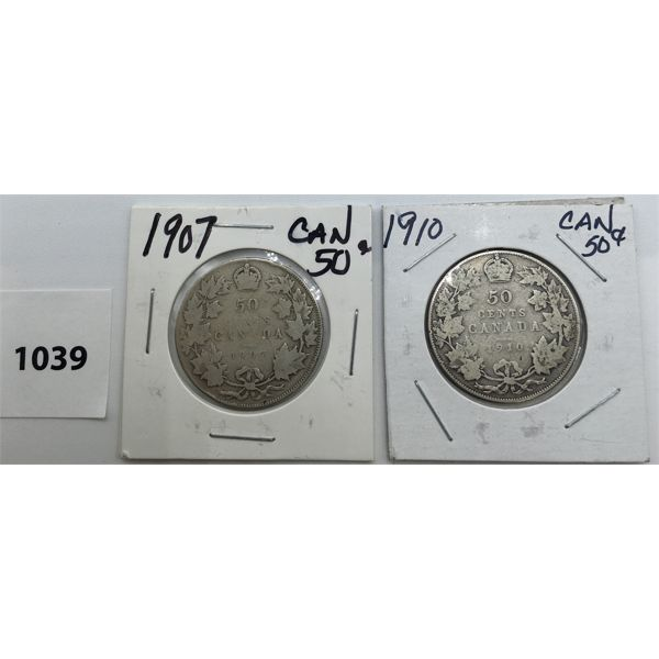 LOT OF 2 - CDN FIFTY CENT PIECES - 1907 AND 1910