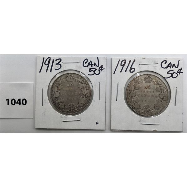 LOT OF 2 - CDN FIFTY CENT PIECES - 1913 AND 1916