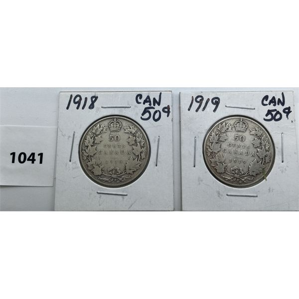 LOT OF 2 - CDN FIFTY CENT PIECES - 1918 AND 1919