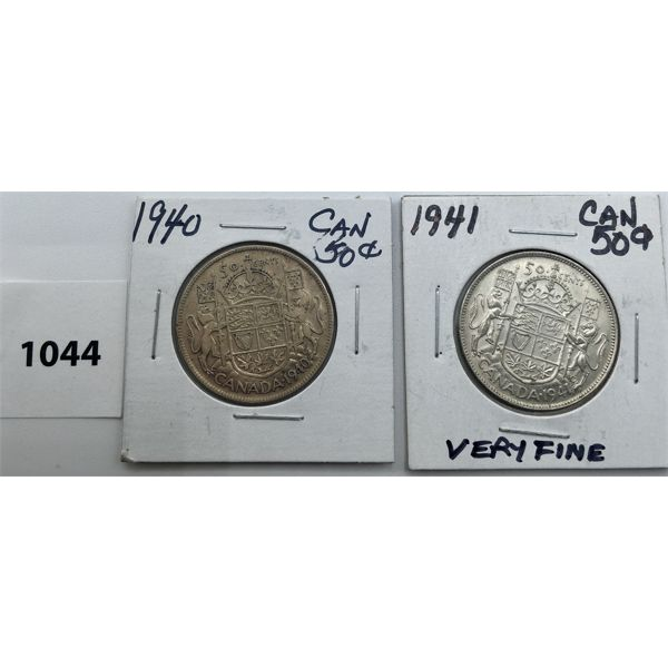 LOT OF 2 - CDN FIFTY CENT PIECES - 1940 AND 1941
