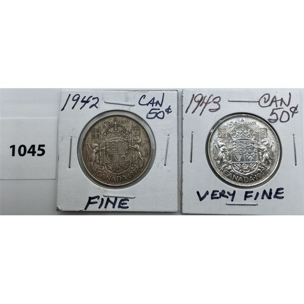 LOT OF 2 - CDN FIFTY CENT PIECES - 1942 AND 1943
