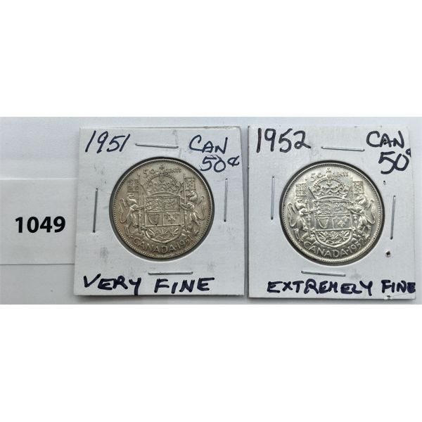 LOT OF 2 - CDN FIFTY CENT PIECES - 1951 AND 1952