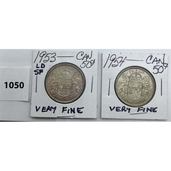 LOT OF 2 - CDN FIFTY CENT PIECES - 1953 AND 1954