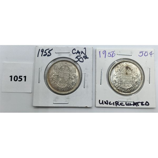 LOT OF 2 - CDN FIFTY CENT PIECES - 1955 AND 1956