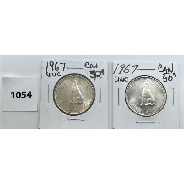 LOT OF 2 - 1967 CDN FIFTY CENT PIECES