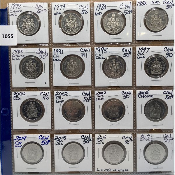 LOT OF 16 - UNCIRCULATED CDN FIFTY CENT PIECES