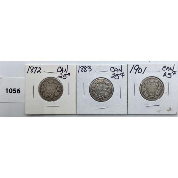 LOT OF 3 - CDN TWENTY FIVE CENT PIECES - 1872, 1883, 1901
