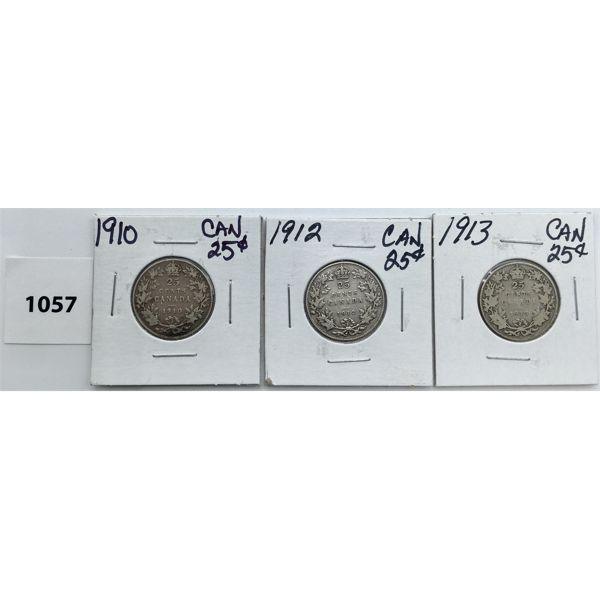 LOT OF 3 - CDN TWENTY FIVE CENT PIECES - 1910, 12, 13
