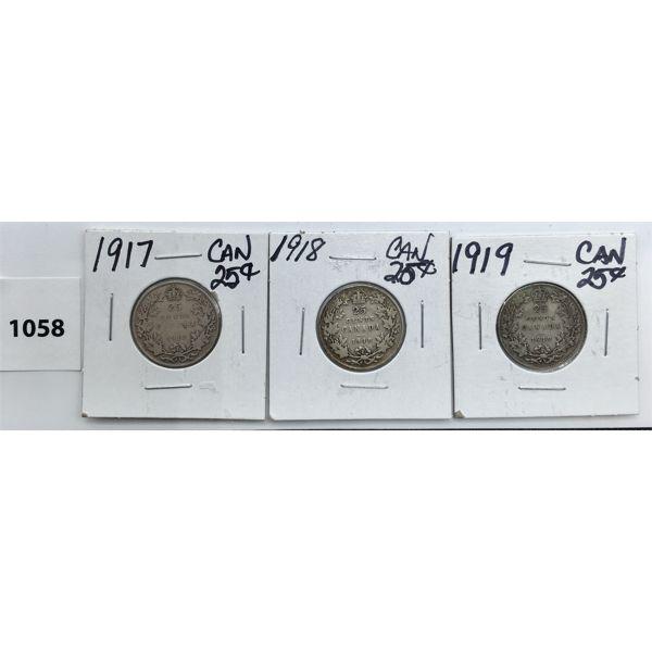 LOT OF 3 - CDN TWENTY FIVE CENT PIECES - 1917, 18, 19