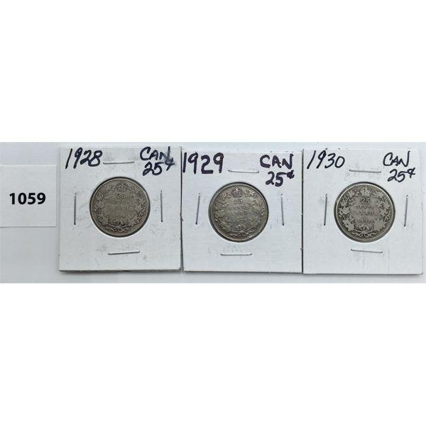 LOT OF 3 - CDN TWENTY FIVE CENT PIECES - 1928, 29, 30