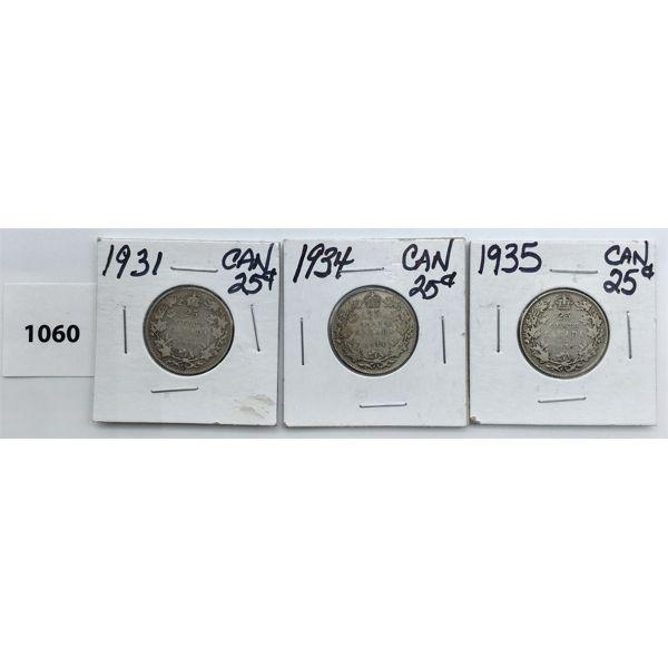 LOT OF 3 - CDN TWENTY FIVE CENT PIECES - 1931, 34, 35