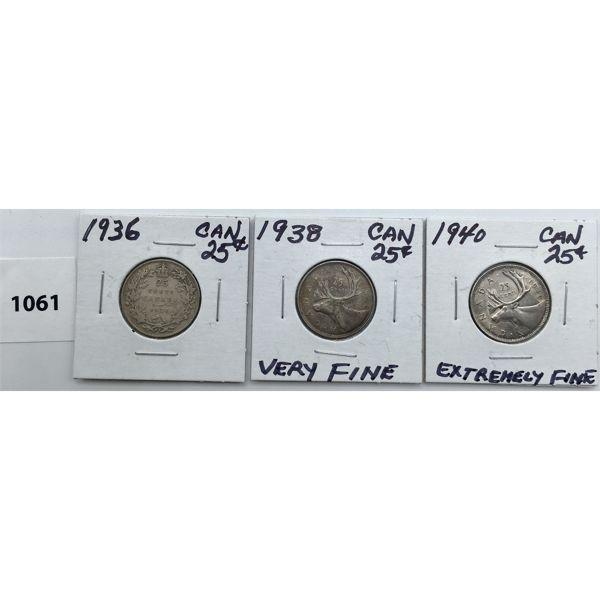 LOT OF 3 - CDN TWENTY FIVE CENT PIECES - 1936, 38, 40