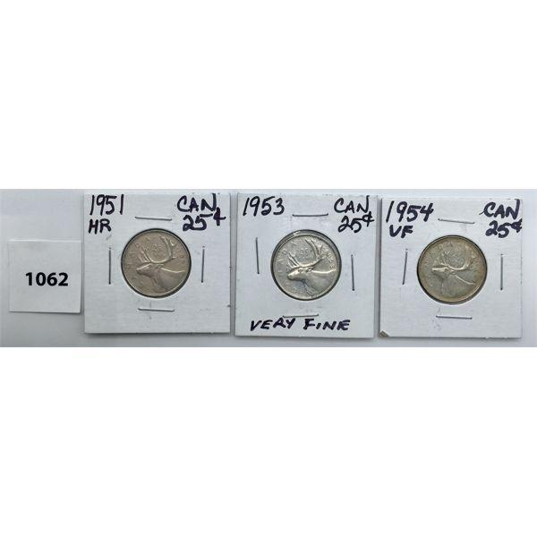 LOT OF 3 - CDN TWENTY FIVE CENT PIECES - 1951, 53, 54