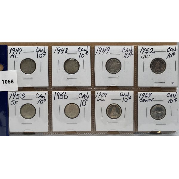 LOT OF 8 - CDN SILVER 10 CENT COINS - 1947 TO 1967