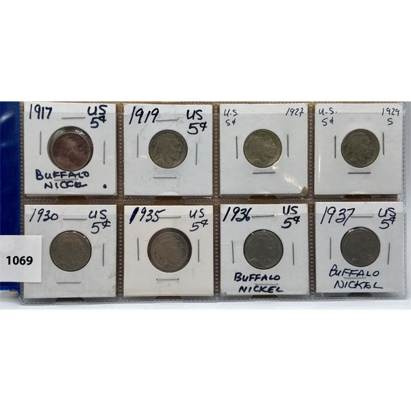 LOT OF 8 - US BUFFALO NICKLES - 1917 TO 1937