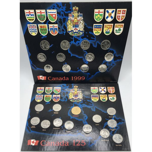LOT OF 3 - CANADA 125TH COINS SETS AND 1999 QUARTER SET - SEE ALL PICS
