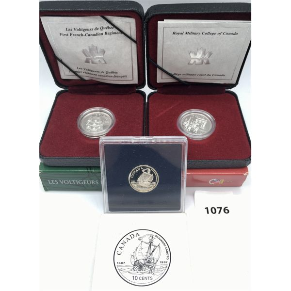 LOT OF 3 - CDN FIVE AND TEN CENT PROOF SILVER COMMEMORATIVE COINS