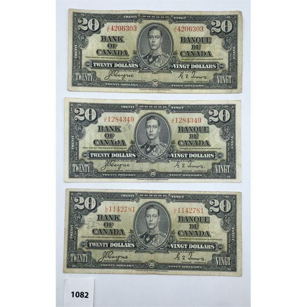 LOT OF 3 - CDN 1937 TWENTY DOLLAR BILLS