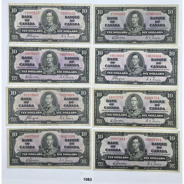 LOT OF 8 - CDN 1937 TEN DOLLAR BILLS