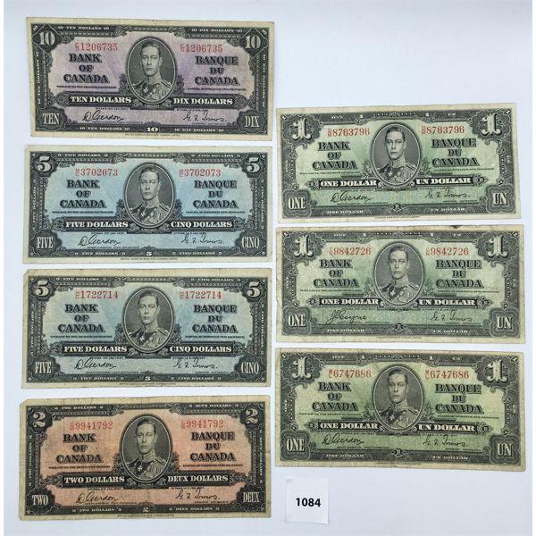 LOT OF 7 - 1937 CDN BANKNOTES