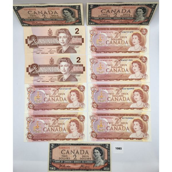 LOT OF 11 - CDN TWO DOLLAR BANKNOTES - VARIOUS YEARS