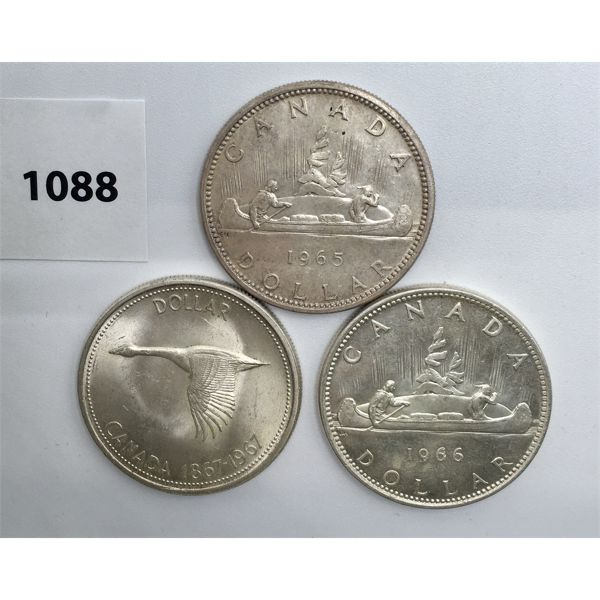 LOT OF 3 - CDN SILVER DOLLARS - 1965, 1966, 1967