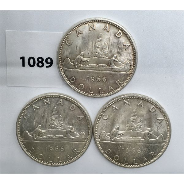 LOT OF 3 - CDN SILVER DOLLARS - 1966