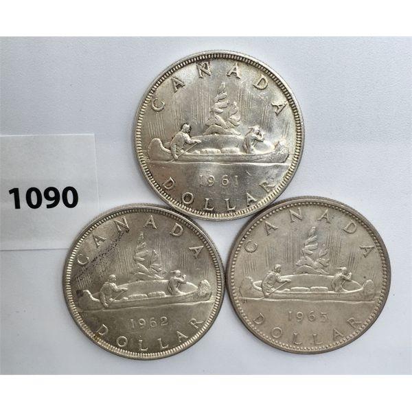 LOT OF 3 - CDN SILVER DOLLARS - 1961, 1962, 1965