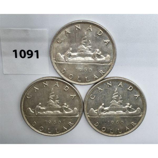 LOT OF 3 - CDN SILVER DOLLARS - 1960