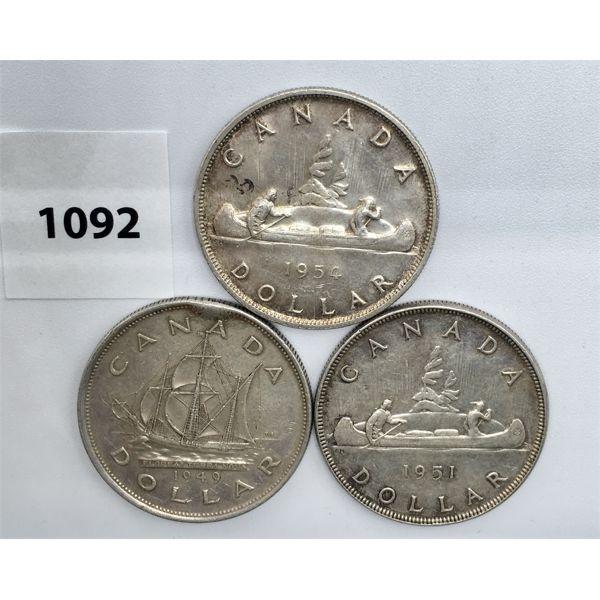 LOT OF 3 - CDN SILVER DOLLARS - 1949, 1951, 1954