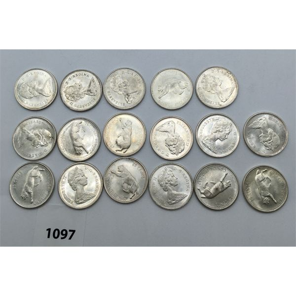 LOT OF 17 - CDN SILVER TWENTY-FIVE CENT PIECES - 1967