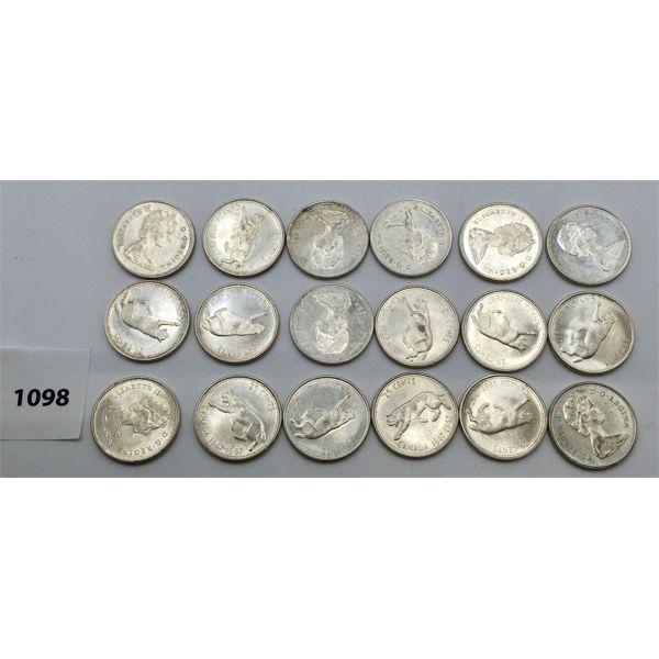 LOT OF 18 - CDN SILVER TWENTY-FIVE CENT PIECES - 1967