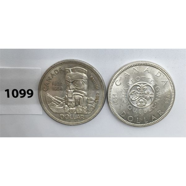 LOT OF 2 - CDN SILVER DOLLARS - 1958 AND 1964