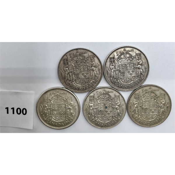 LOT OF 5 - CDN FIFTY CENT PIECES - 1946, 50, 51, 52 , 57