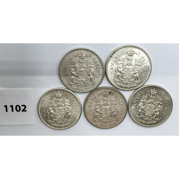 LOT OF 5 - CDN FIFTY CENT PIECES - 1960, 61, 2X 62, 2X 63
