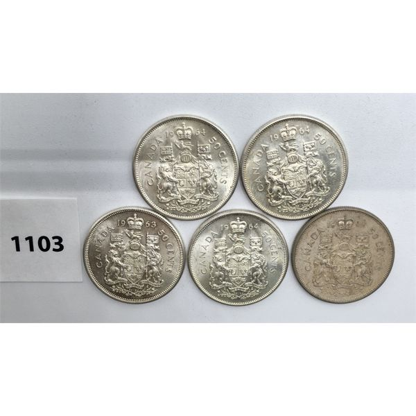 LOT OF 5 - CDN FIFTY CENT PIECES - 1963, 4X 1964