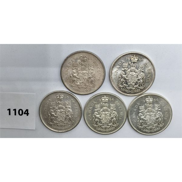 LOT OF 5 - CDN FIFTY CENT PIECES - 3X 1964, 1965, 1966