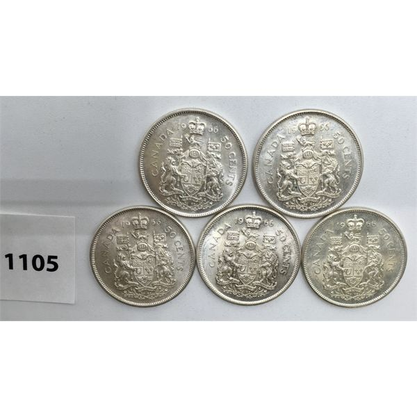 LOT OF 5 - CDN FIFTY CENT PIECES - 1966
