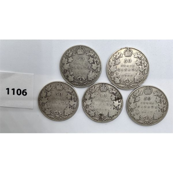 LOT OF 5 - CDN FIFTY CENT PIECES - 1910, 16, 17, 19, 20