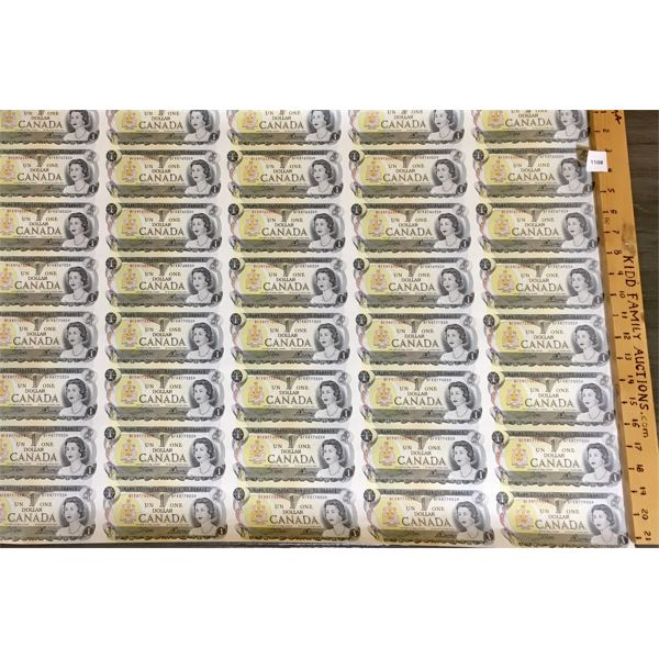 UNCUT SHEET OF CDN ONE DOLLAR BILLS - 1973
