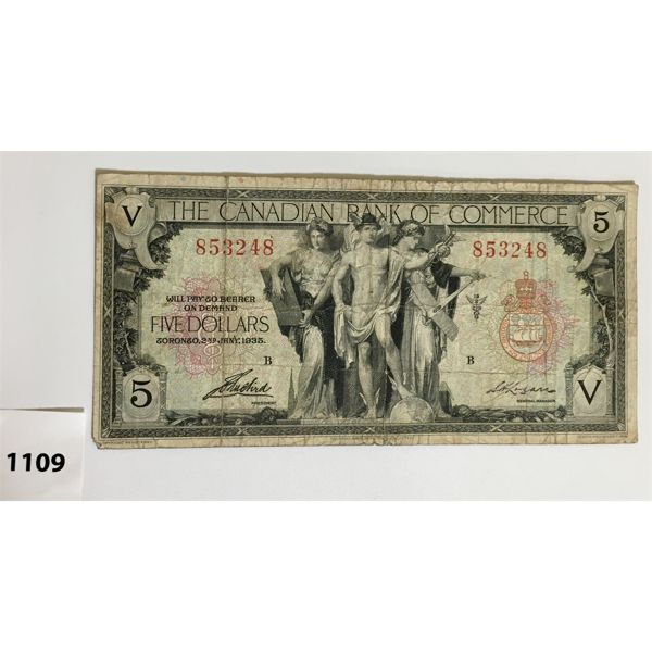 CANADIAN BANK OF COMMERCE FIVE DOLLAR BANKNOTE - 1935