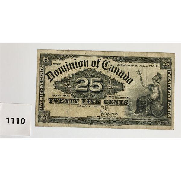 DOMINION OF CANADA TWENTY-FIVE CENT SHINPLASTER - 1900