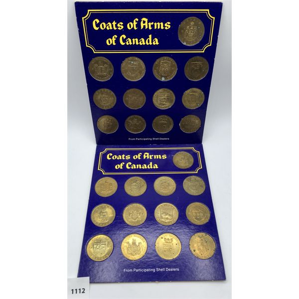 LOT OF 2 - COAT OF ARMS OF CANADA COIN SET W/ FLORAL EMBLEMS OF CANADA ON REVERSE