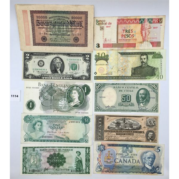 LOT OF 19 - BILLS FROM VARIOUS COUNTRIES - SEE ALL PICS