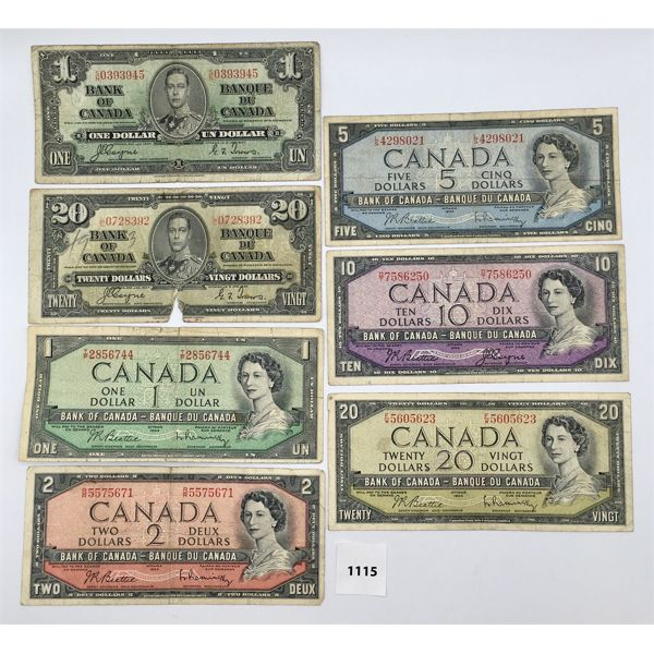 LOT OF 7 - 1937 AND 1954 CANADIAN BILLS