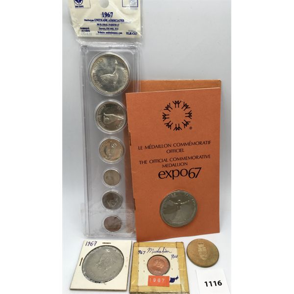 LOT OF 5 - 1967 CENTENNIAL COIN SET AND 4 1967 MEDALLIONS