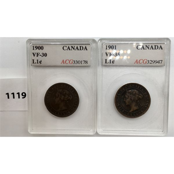 LOT OF 2 - LARGE CENTS 1900 VF - 30 AND 1901 VF - 35